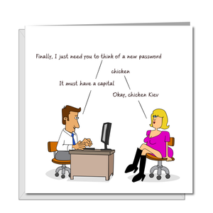 Funny Birthday card  for Wife Husband Mum Dad Father Friends - Computer Password Technology - Funny, humorous and fun