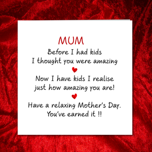 relax mothers day card