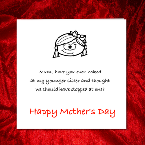 funny mothers day card sister brother