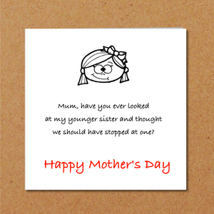 humorous mothers day card daughter