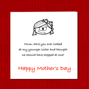 humorous mothers day card sister brother