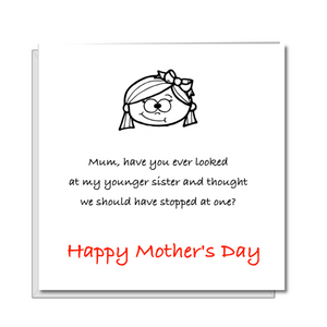 funny mothers day card daughter