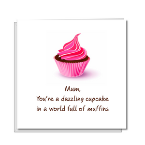 pink cupcake mothers day card