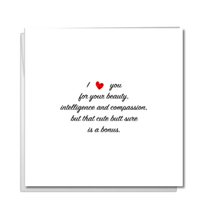 Funny Anniversary Card, Birthday Card, Valentine's Day Card for girlfriend or wife - Cute Butt - Humorous rude saucy risque Valentine card.