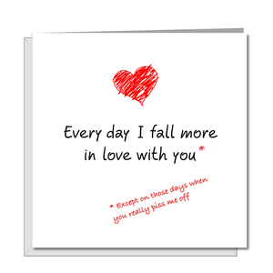Funny Valentines Day Card for boyfriend girlfriend husband wife Anniversary Birthday Card Fall in Love You Amusing Humorous Heart Lover