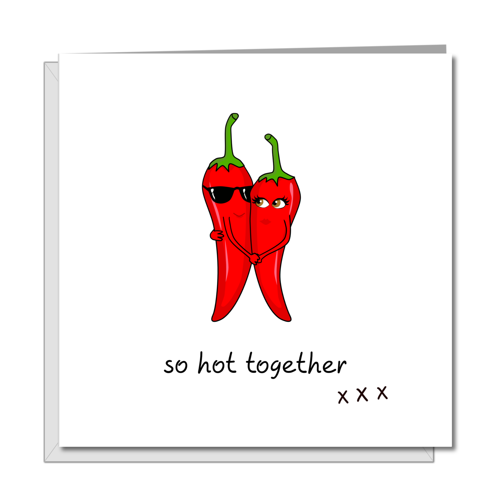 Funny Hot Love Birthday, Valentines Day or Anniversary CARD for boyfriend, husband wife girlfriend - hot chilli sexy cool