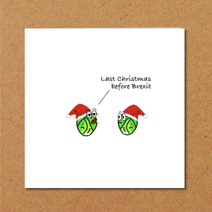 Funny Brexit Christmas Card - Brussel sprouts card - Humorous, amusing card - Europe EU - Barnier -Handmade.