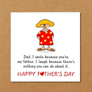 humorous fathers day card from daughter
