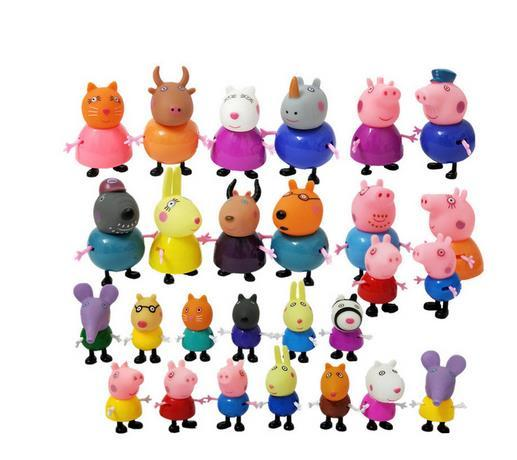 Peppa Pig George Pig Family Pack Toy Pink Pig Daddy Dad Mom Mother Action Figure Kids Toy Mini Model Cake Boy Girl Gift