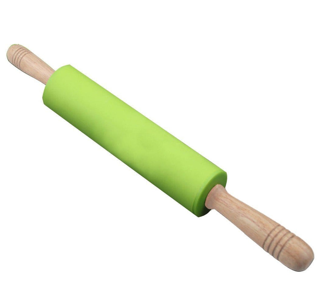 Wooden Handle Silicone Rolling Pin Bright Color Design Silicone Non-Stick Dough Roller Pin 17 inch