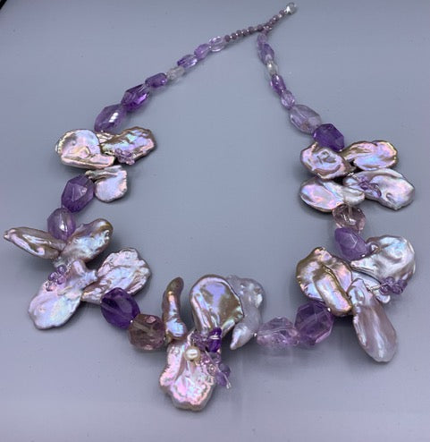 Keshi Pearls with Ametrine Necklace