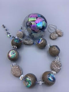 Ebony Gray Abalone from New Zealand with Druzie Necklace
