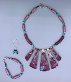 Purple Turquoise Spiny Oyster Fan Set