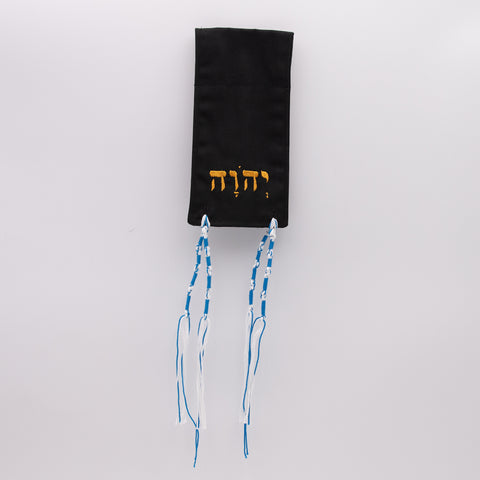 Picture of Micro Tallit - Black with Gold Hebrew Letters