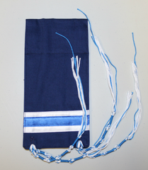 Micro Tallit - Navy with White and Blue Stripes