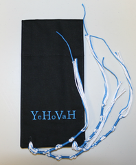 Micro Tallit - Black with YHVH in Light Blue