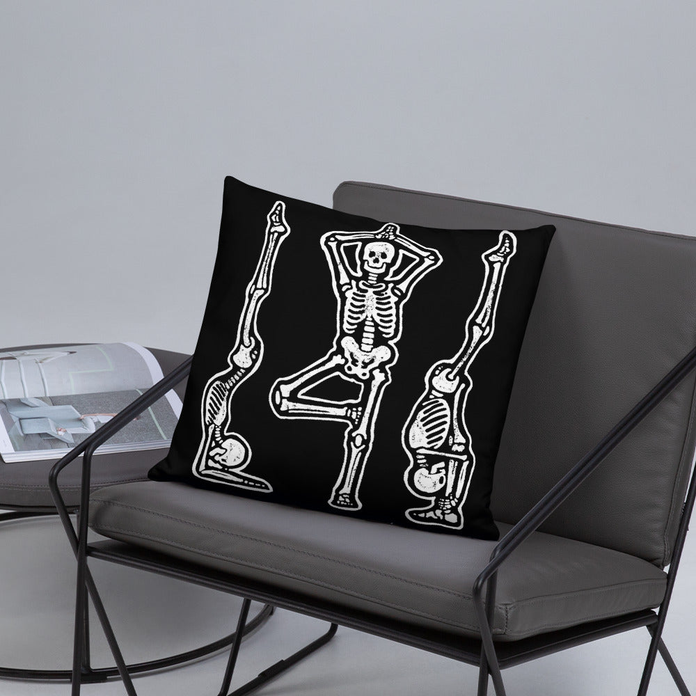 Yogi Skeletons Throw Pillow