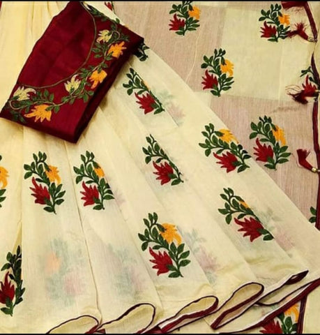 Beautifull BEIGE COMPLETELY FLOWERS EMBROIDERY WITH PIPEN AND LATKAN