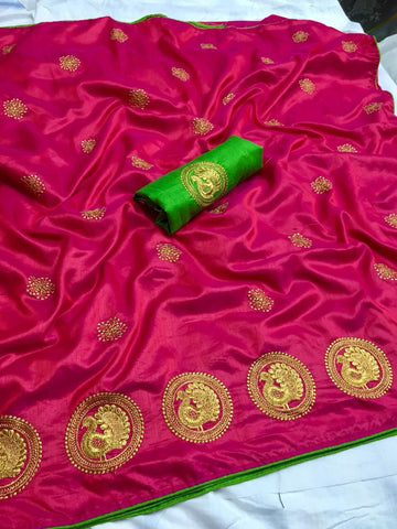 Captivating Pink Color Sana Silk saree With Embroidery Work Saree