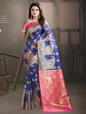 Blue And Pink Color Jaquard Kanjiwaram Banarasi Pure Silk Saree