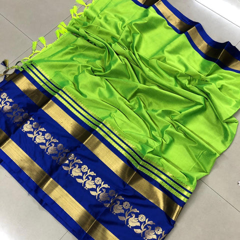 Perrot Green Chidiya Pure Cotton Silk Saree With Running Blouse