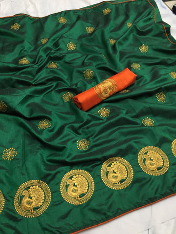 Captivating Dark Green Color Sana Silk saree With Embroidery Work Saree