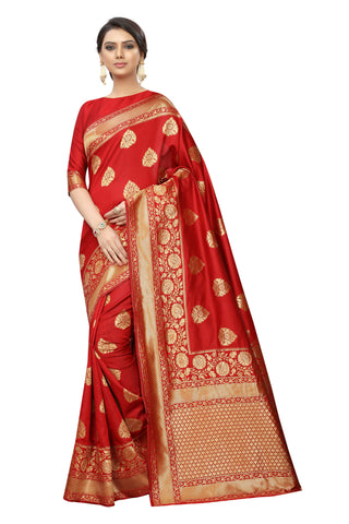 Banarasi Monalisa Red Color Cotton Silk Saree With Designer Pallu