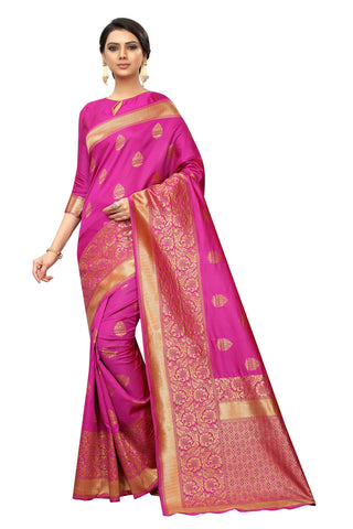 Banarasi Payal Pink Cotton Silk Saree With Designer Saree
