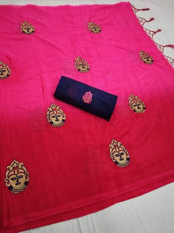 Attractive Pink Color King Print Sana Silk With Pattern Designer Saree