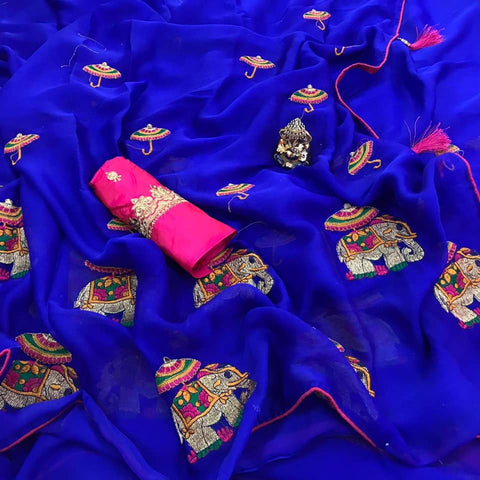 Royal Blue  Color  Lace Border Embroidery Work Saree