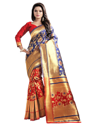 Blue Flower Goldan Patta Banarasi Silk Saree With Designer Pallu