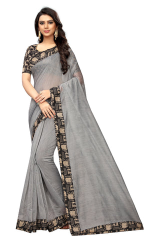 Grey  Color With Camel Lace Border Chanderi Silk Saree