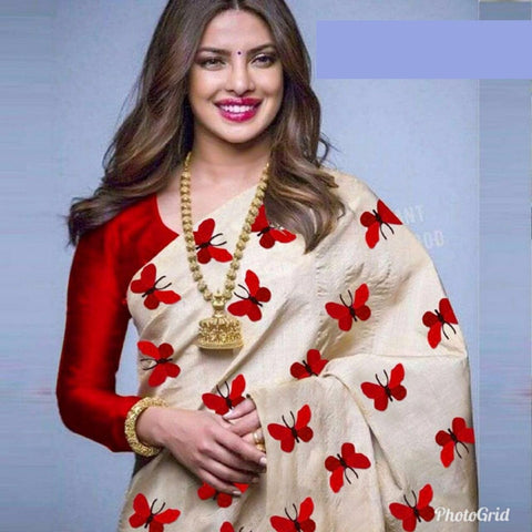 Awesome Cream And Red Color South Silk Saree