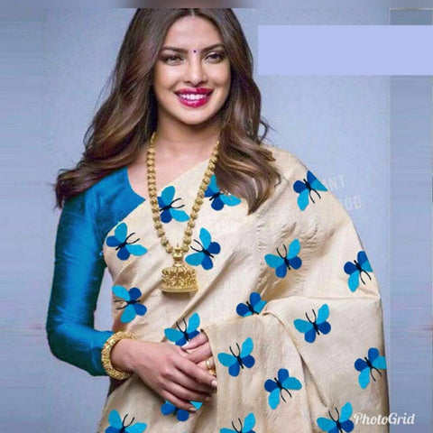 Awesome Cream And SkyBlue Color South Silk Saree