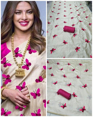 Awesome Cream And Pink Color South Silk Saree