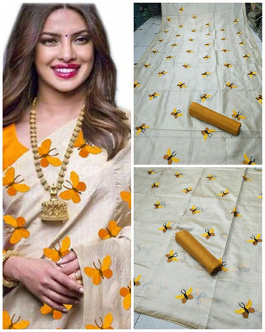 Awesome Cream And Yellow Color South Silk Saree