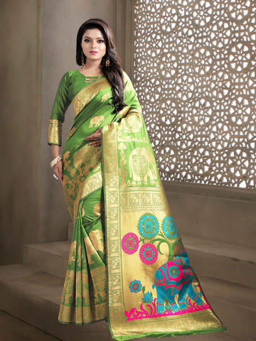 Green Color Jaquard Kanjiwaram Banarasi Pure Silk Saree