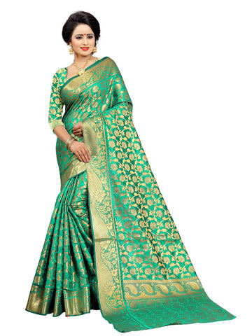 Green Color Jaquarde Kanjiwaram Silk Saree With Cotton Silk Saree