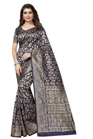 Navy Blue Color Jaquarde Kanjiwaram Silk Saree With Cotton Silk Saree
