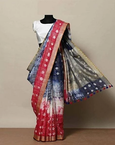 Admireable Multi Color Linen Designer Sareee