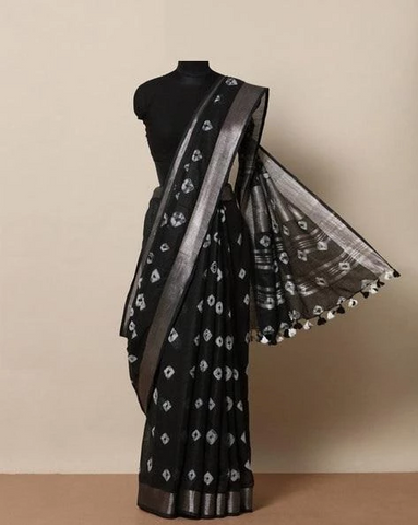 Adhesive Black Color Linen Designer Saree