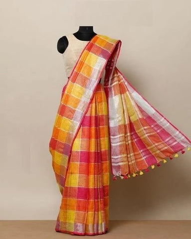 New Look Multi Color Linen Designer Saree