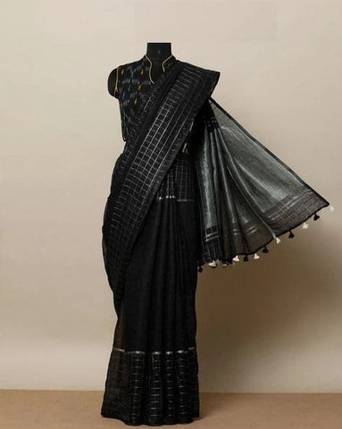 Latest Black Color Linen Designer Saree