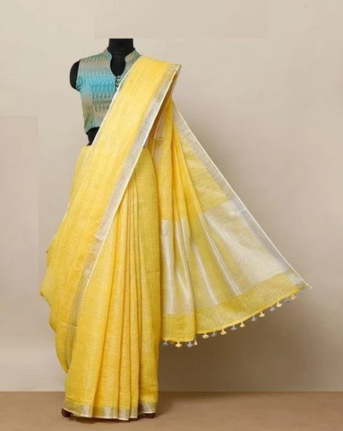 Excellent Yellow Color Linen Designer Saree
