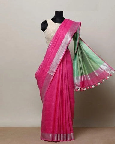 Excellent Pink Color Linen Designer Saree