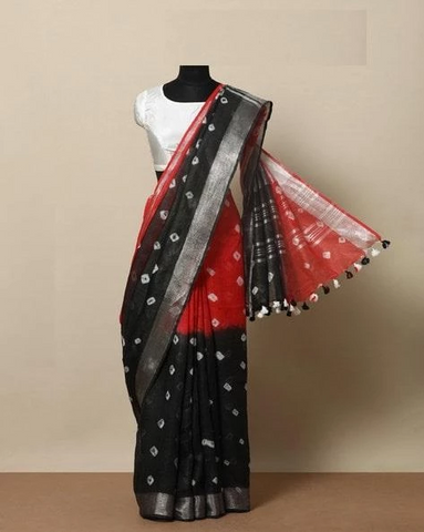 Excellent Black And Red Color Linen Designer Saree