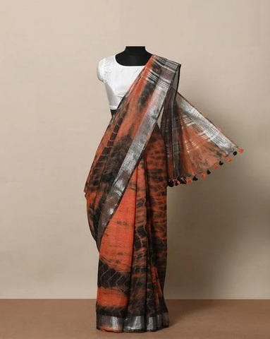 Stunning Orange And Black Color Linen Designer Saree