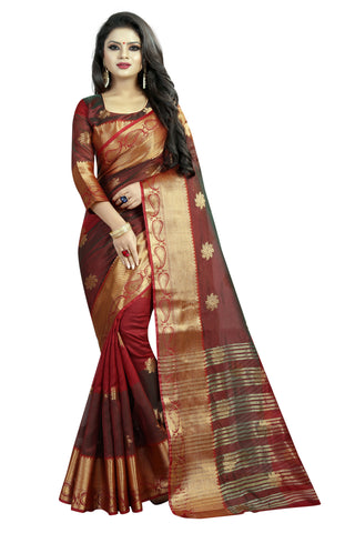 Tiranaga Maroon Color Cotton Silk Saree