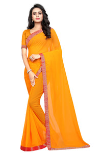 Mustard color  Georgette silk saree