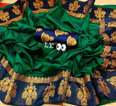 Pepar Silk Dark Green Color With Printed Lace Saree